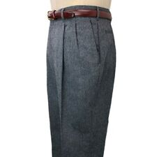 Vintage Mens Donegal Tweed Pants 34 31 Grey Haggar Pleated Trousers Gray Wool