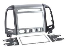 für HYUNDAI Santa Fe Auto Radio Blende Einbau Rahmen Doppel-DIN silber schwarz