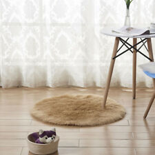 Round Fluffy Faux Fur Rug Shaggy Floor Mat Soft Home Bedroom Hairy Carpet Khaki