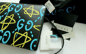 $2,200 Gucci Ghost Messenger Bag Black Leather New 429004 W Receipt