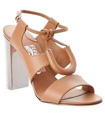 Salvatore Ferragamo Women Galilea Tubular Leather Metallic-Heel Sandals Camel