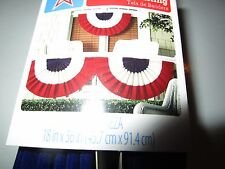 """PATRIOTIC RED WHITE BLUE BUNTING W/ GROMMETS 18"""" X 36"""" NWT"""