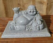 Happy Laughing Buddha carved stone vintage hôtel Statue Figurine