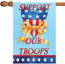 Toland Support Our Troops 28 x 40 USA America Veteran Yellow Ribbon House Flag