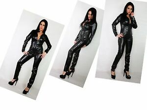 BLACK FAUX LEATHER CATSUIT JUMPSUIT  Size 26-30 UK NEW WITH TAGS