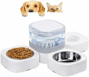 Three-in-one Automatic Pet Water Dispenser 1.8L with 2 Detachable Bowls Cat Dog