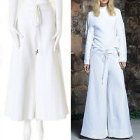 """runway ROSIE ASSOULIN white ribbed cotton tie front wide leg surf pants 27"""" S"""
