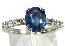 Sapphire Ring 14K white gold Solitaire VS African Certified Natural Free $3,994