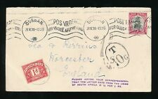POSTAGE DUE GB 1d WORCESTER from SOUTH AFRICA + PLEASE ADVISE RATE HANDSTAMP