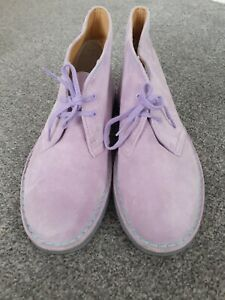 CLARKS ORIGINALS DESERT BOOTS SIZE UK 8 LILAC SUEDE VERY GOOD CONDITION
