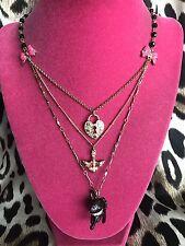 Betsey Johnson Vintage Rose Garden Black Cat Heart Lock Bird Charm Necklace RARE