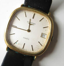 Longines Genuine Leather Strap Gold Plated Case Wristwatches