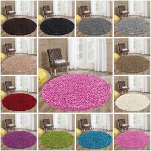 Circular Circle Shaggy Rugs Washable Floor Small Large Round Mats Non Shade