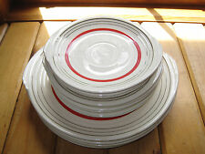 Vintage EDWIN KNOWLES China Plates Lot of 13 RED IVORY SILVER Yorktown