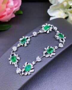 "Colombian Emerald & Diamond Art Deco Tennis 7.5"" Bracelet 18K White Gold Over"
