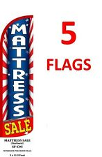 5 (five) MATTRESS SALE red/wh/bl 11.5' x 3' WINDLESS SWOOPER FLAGS BANNERS