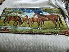 Tapestry Of Horses In Chenille Velvet