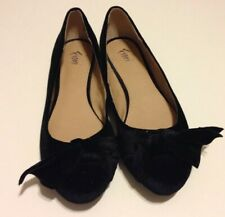 Fioni Black Velvet Ballet Flats with Bow -  Slip On Casual Dress Shoes 8M