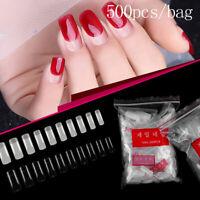 500pcs Half Cover Fake False Nail Tips Art Artificial Acrylic Gel Manicure Set