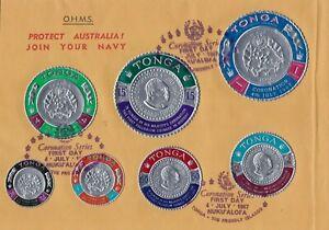1967 AUSTRALIA OHMS TONGA Island King Coronation FDC Palladium Coin Stamps