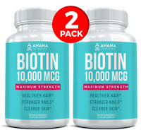 Ahana Biotin Capsules - Maximum Strength 10,000mcg For Healthy Hair (2 Bottles)