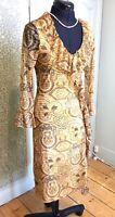Morgan Ladies Summer Dress Gold Bodycon fitted dress UK 8 EU 36 -T1
