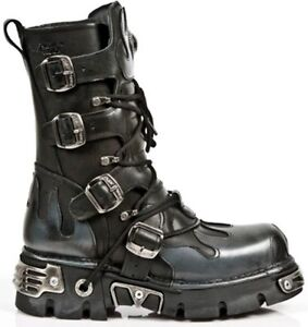 NEW ROCK 591-S2 Silver FLAME METALLIC CLASSIC BLACK LEATHER BIKER GOTH BOOTS