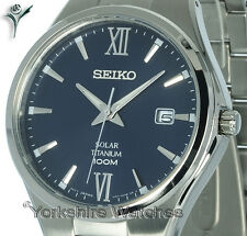 New SEIKO SOLAR FULL TITANIUM CHARCOAL BLUE DIAL WITH DATE SNE407P1