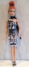 Barbie Doll Clothes Black & White 1 Sleeve Print Dress Scarf Belt & Shoes