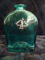 Mouth Blown Vidrios de Levante Hand Made Spain Blue Glass Bottle Floral Design