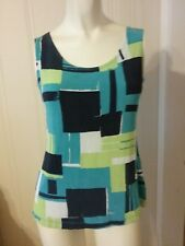 Women's Picadilly Fashion Size Medium Multi Color Print Sleeveless Knit Top