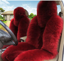 Burgundy Premium Quality Australian Sheep Skin Car Long Wool Front Seat Cover