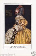 Marion Kunstdruck von 1917 Pellar Kleid Dame Frisur Rote Haare Barock