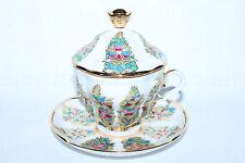 Russian Imperial Lomonosov Porcelain Lidded Tea cup & saucer Fantastic Flowers