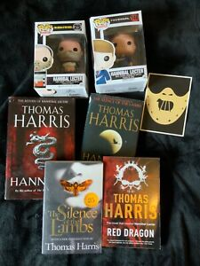 Hannibal Books + 2 Funko Pops -Hannibal Rising, Red Dragon, Silence of the Lambs