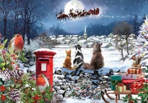 Christmas Jigsaw Puzzle 1000 Pieces   Santa Snow Scene   Gift for Cat Lovers NEW