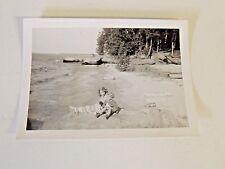 Vintage Black & White Photo Children Playing Lake Ocean Water Vacation Sand Kids