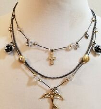 NEW Betsey Johnson Cross Rose Heart Sparrow Charm Statement 3 Row Necklace