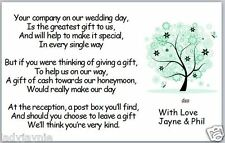 50 Wedding Poem Cards - Honeymoon Gift - Green Tree with Flowers & Butterflies