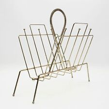 Vtg Mid Century Atomic Brass Plated Metal Wire Lp Record Magazine Rack Holder