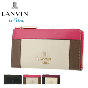 LANVIN en Bleu Long Wallet Cow Leather L-shaped Zipper Coin Purse Pocket Wallets
