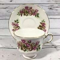 Queen Anne Fine Bone China Made in England Teacup With Saucer Pink Flowers