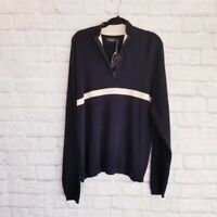 Allan Flusser Mens Half Zip Navy Pullover Golf Sweater NWT Size Large