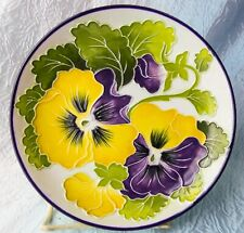 Yellow purple on white J.McCall Blue Sky Small Plate Candy Dish