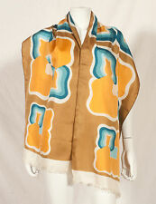 "70'S FRENCH VINTAGE EXTRA LONG GEOMETRIC PRINT SCARF 72"" x 17"""