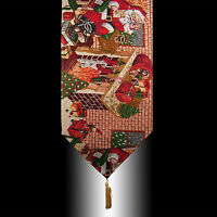 RED CHRISTMAS SANTA CLAUS TAPESTRY TASSELS WEDDING PARTY BED TABLE RUNNER CLOTH
