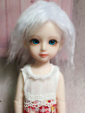 "4-4.5"" 12cm BJD doll fabric fur wig White Short wig bjd hair for 1/12 bjd dolls"