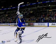 "Jordan Binnington St. Louis Blues Autographed 8"" x 10"" Stick Salute Photograph"