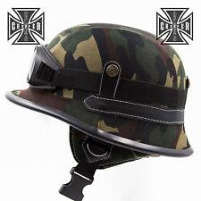 L Camo WWII German Style Motorcycle Half Helmet Skull Cap Biker Chopper Novelty