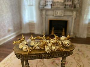 Vintage Miniature Dollhouse Collection Glass Gold Christmas Bulbs Ornaments